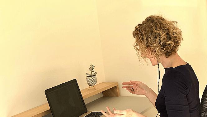 Debbie coaching a client